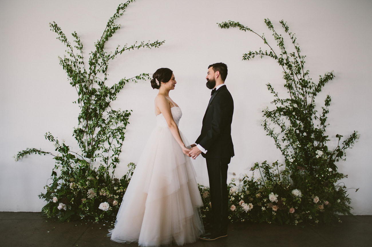 Modern loft wedding in downtown los angeles strapless for Saks fifth avenue wedding dresses los angeles