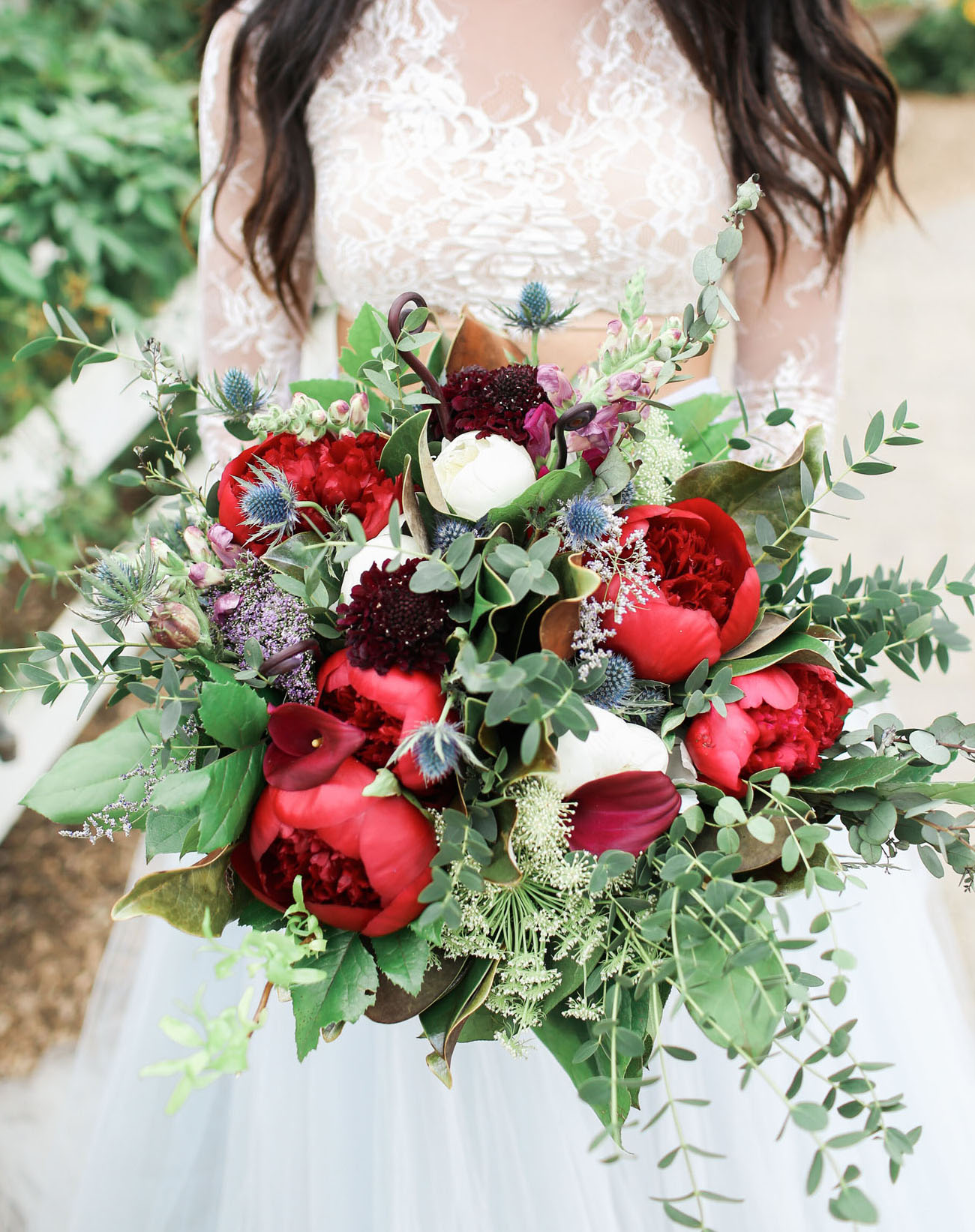 red peony bouquet