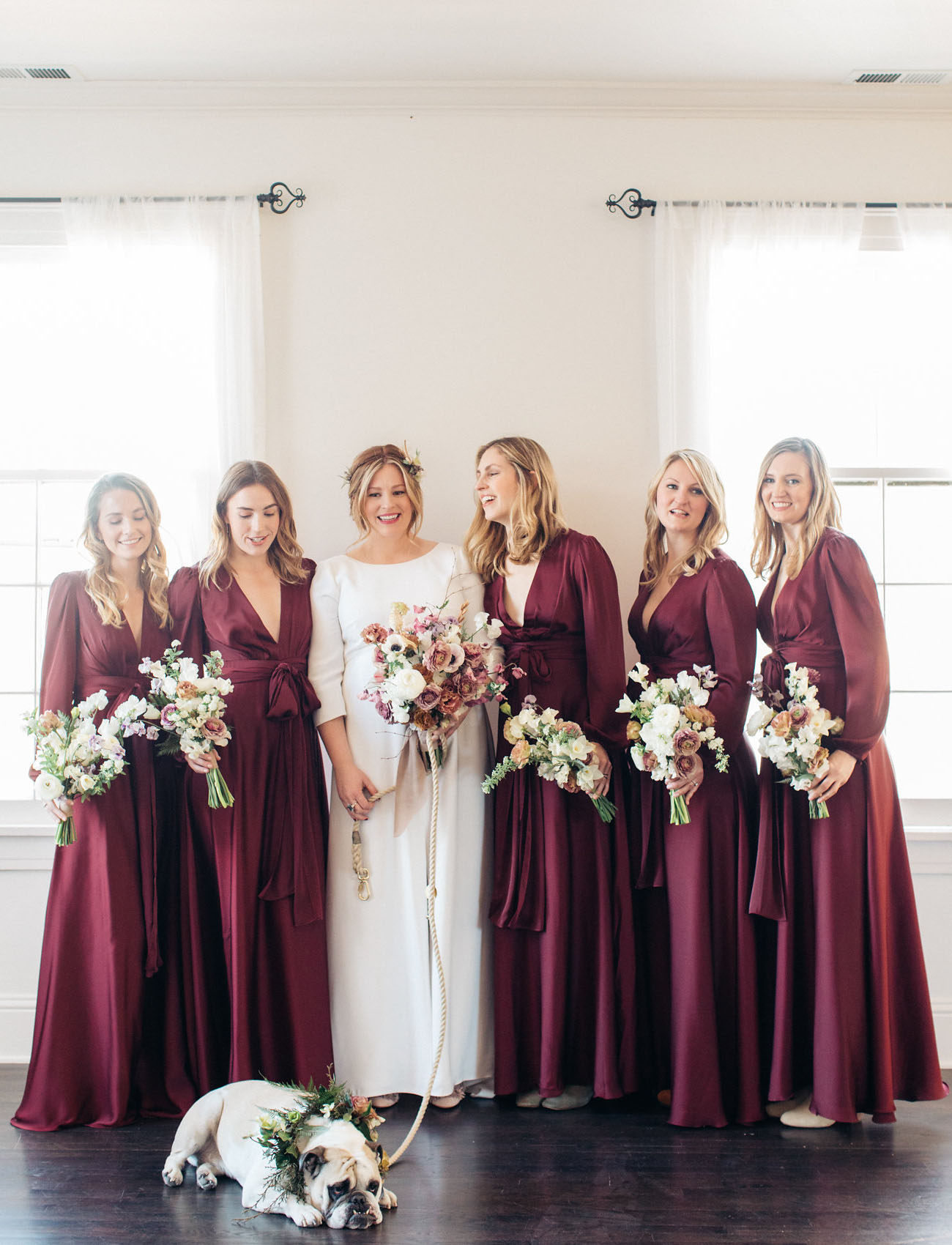 burgundy maxi bridesmaids