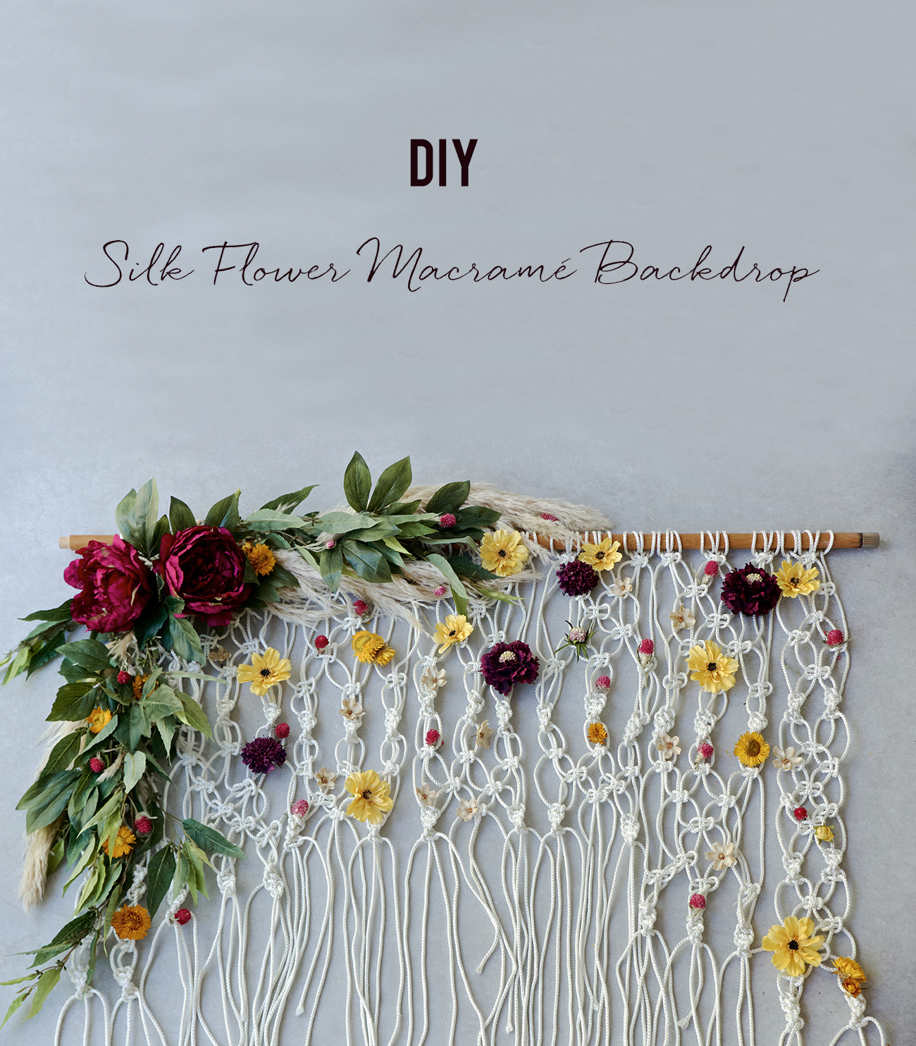 diy silk flower macrame backdrop