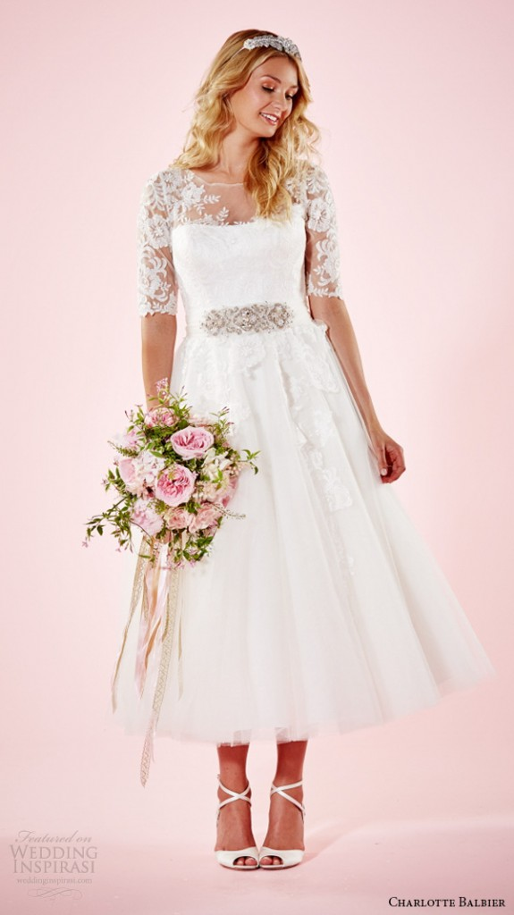 Wedding dresses with short sleeves or half sleeves 2016 for Ankle length wedding dress with sleeves